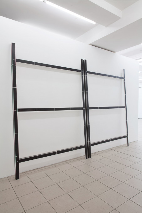 o. T. (Sperren), 2014, lacquer, board, wood, screws, two parts, each element 240 x 160 x 6 cm
